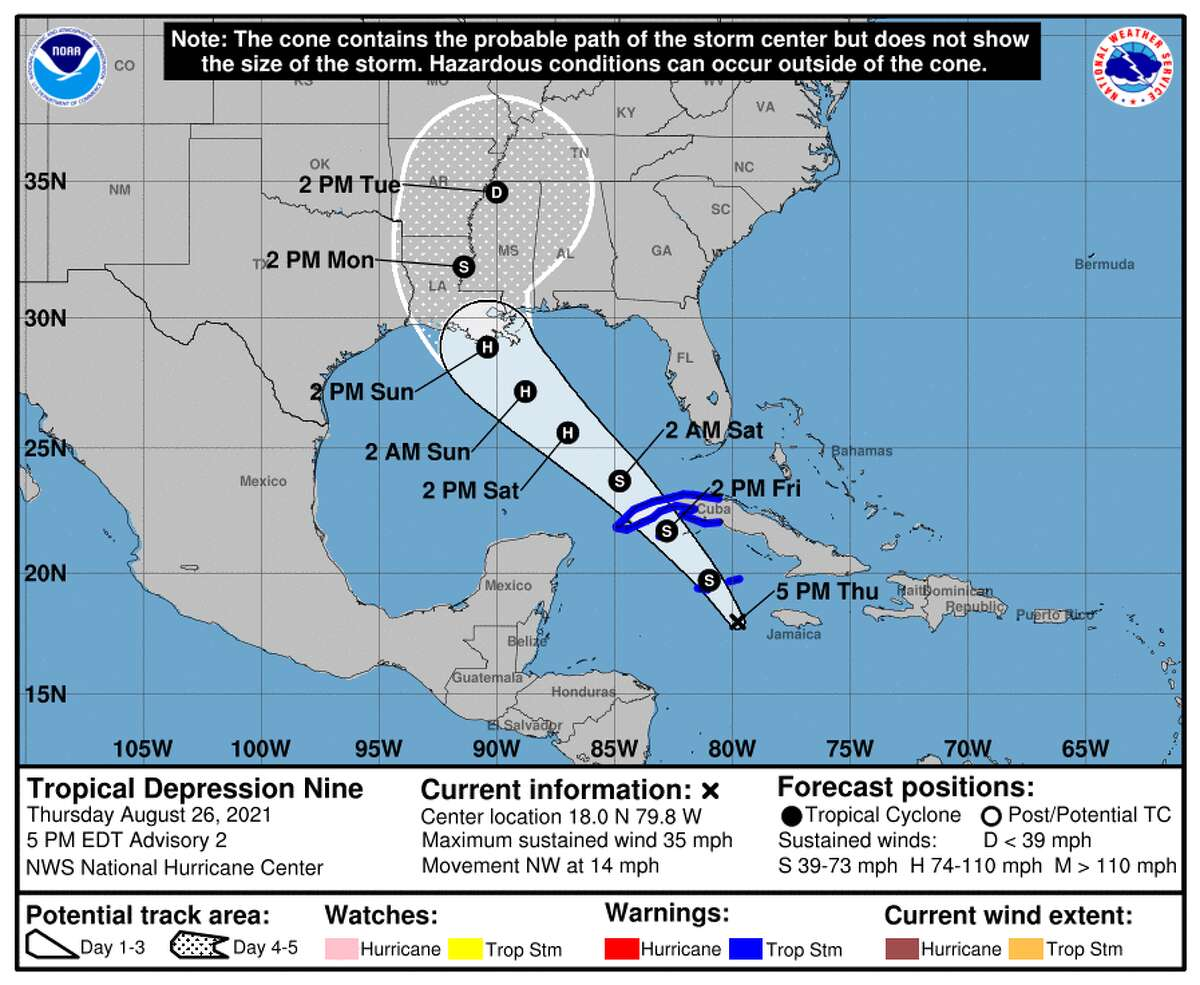 Here's the forecast issued by the National Hurricane Center at 4 p.m. Thursday, Aug. 26, 2021.