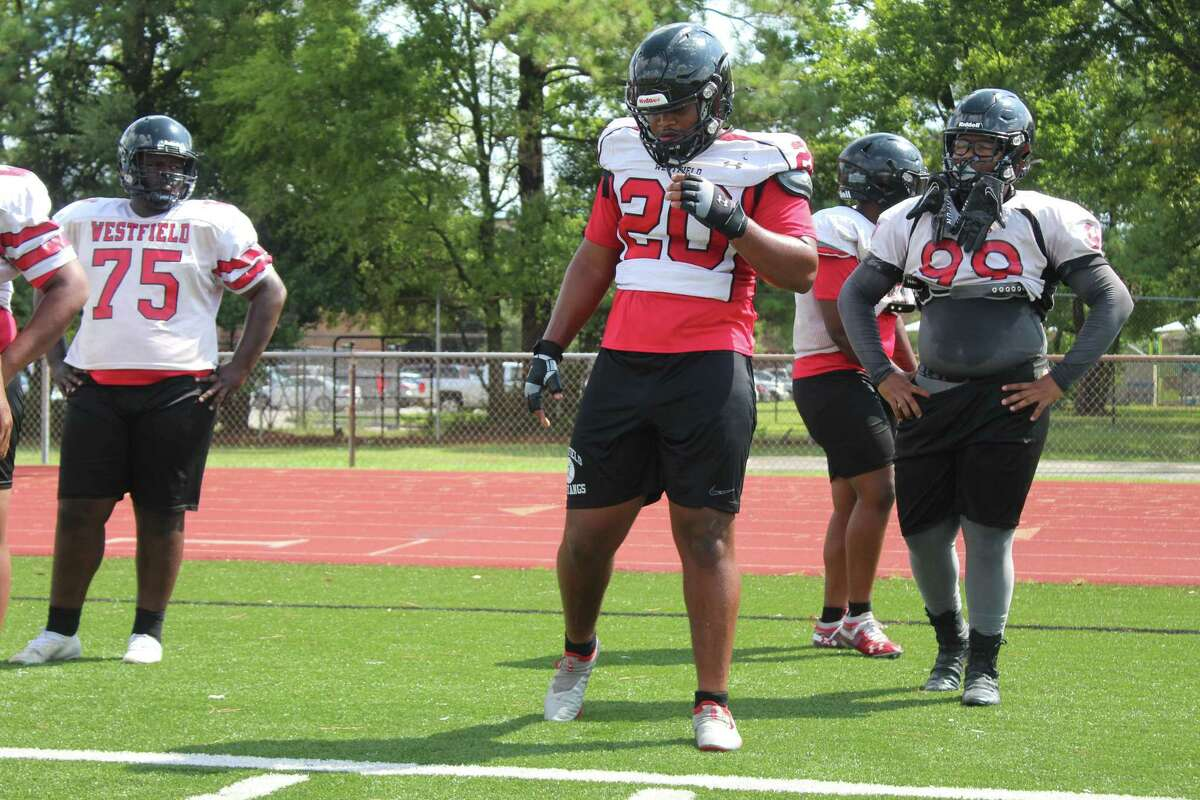 Westfield defensive tackle Anthony Holmes going through drills during fall camp.