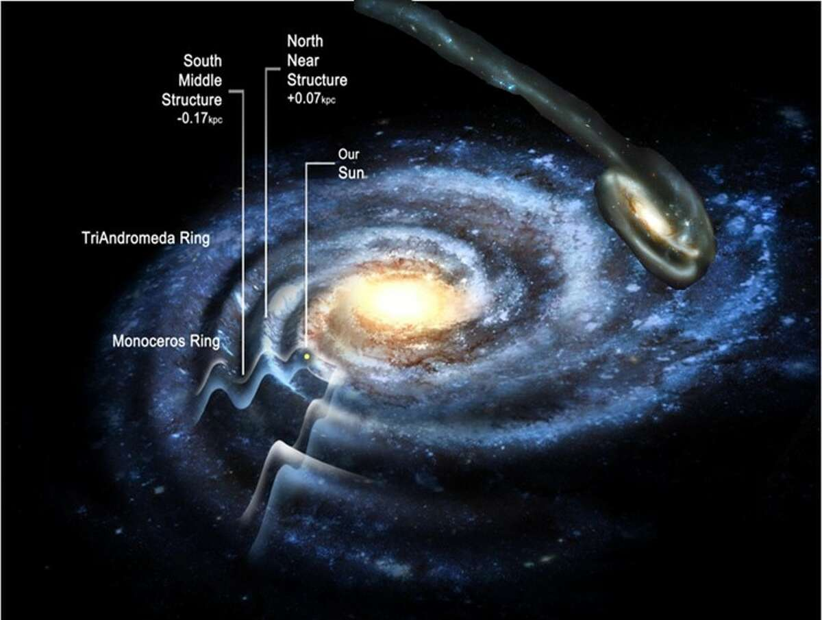 RPI Professor Heidi Jo Newberg studies the structure of our galaxy, the Milky Way and how it sometimes gobbles up other small galaxies. This is one of her depictions of the Milky Way.