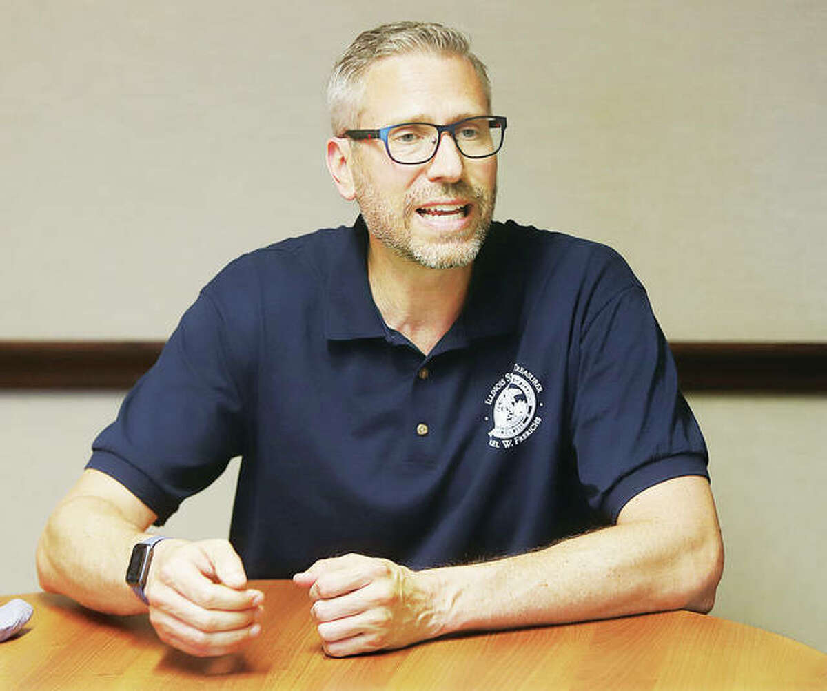 Illinois State Treasurer Mike Frerichs talks Thursday about programs the treasurer's office is carrying out to help small businesses. - John Badman|The Telegraph
