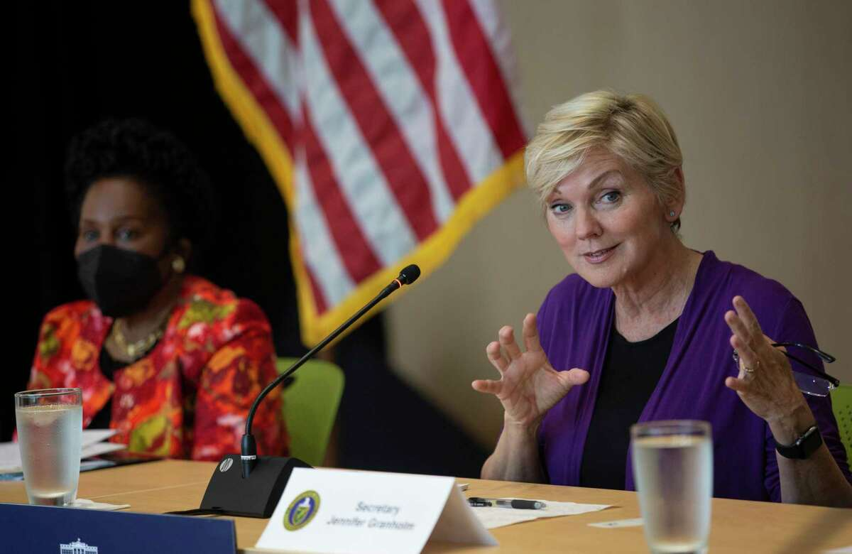 U.S. Secretary of Energy Jennifer M. Granholm reacts to a panelist speaking during a roundtable about advancing clean energy in Texas with Houston leaders Friday, May 28, 2021, at Greentown Lab in Houston.