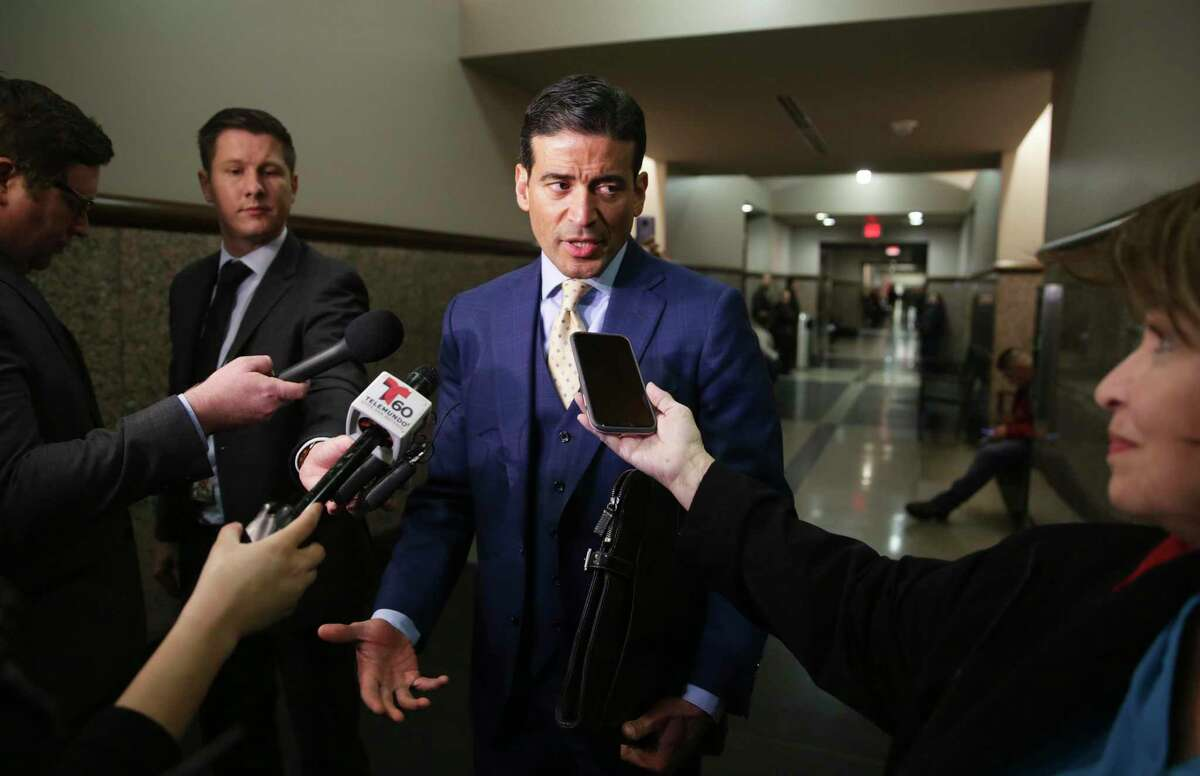Nico LaHood answers questions after Michelle Barrientos-Vela made her first appearance in Judge Ron Rangel's courtroom on Feb. 26, 2020.