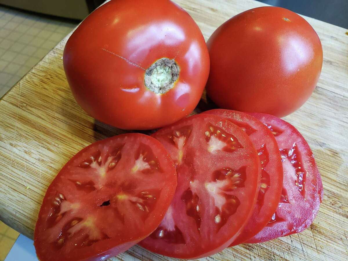 Sliced, vine-ripe tomatoes.