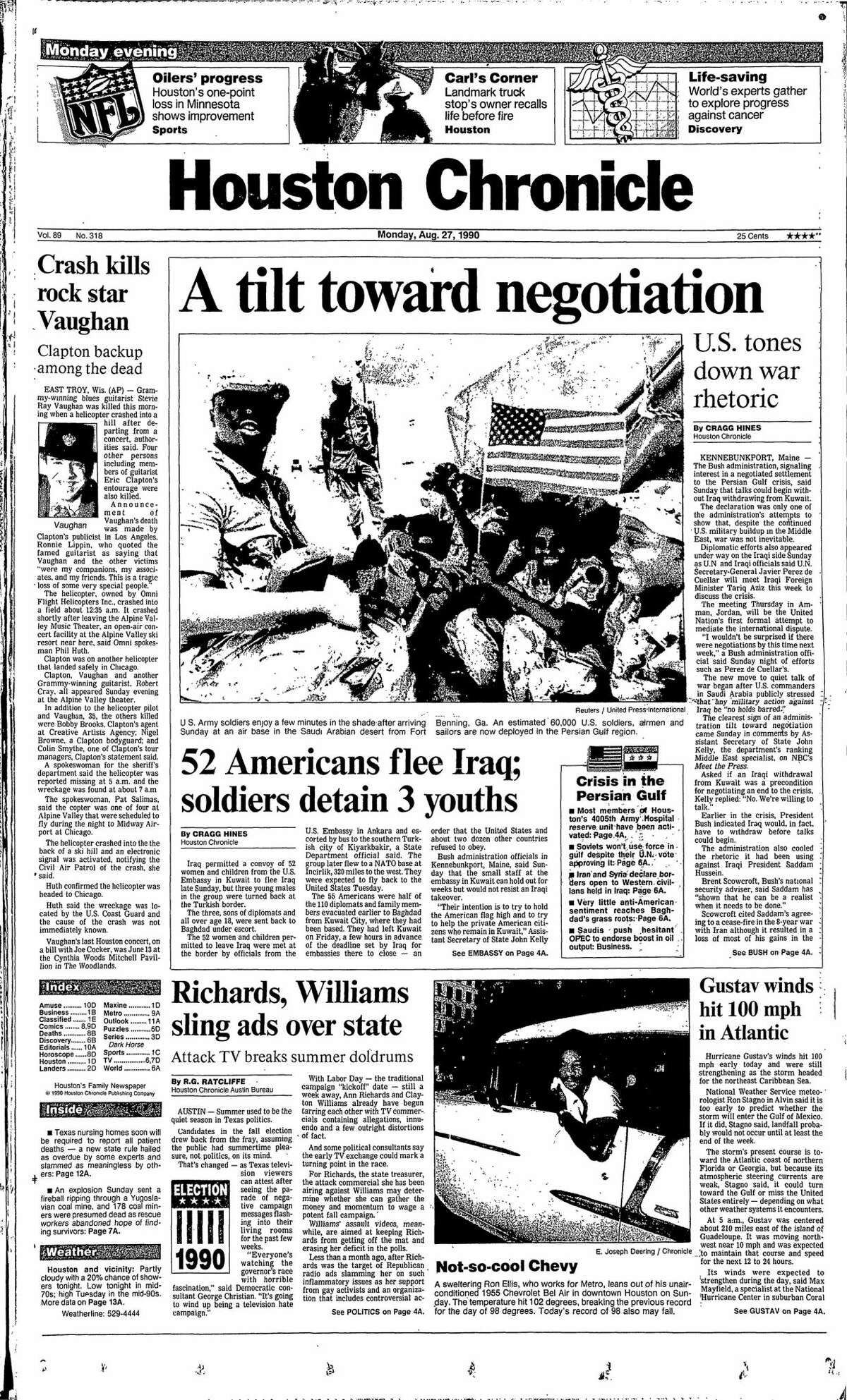 Houston Chronicle front page from Aug. 27, 1990.