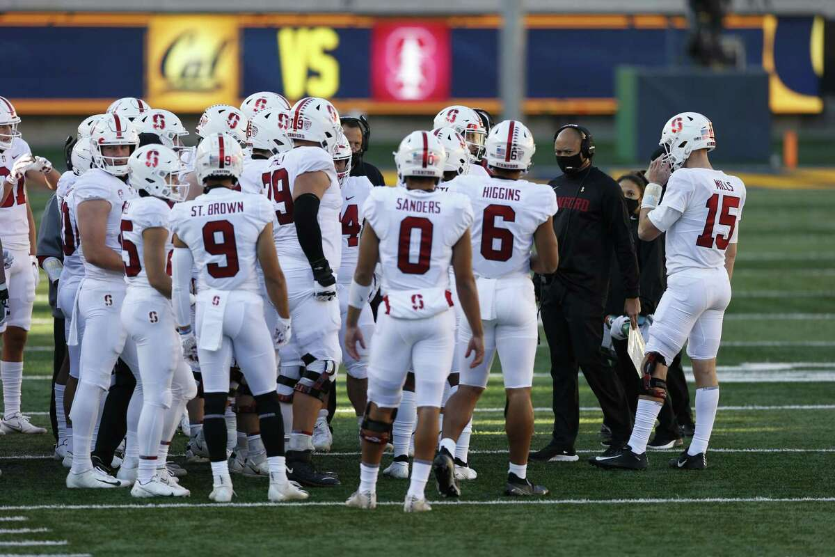 Stanford head coach David Shaw, shown here speaking to his players during last year's Big Game, expects the Pac-12 alliance with the Big Ten and ACC to help his program's recruiting nationally.