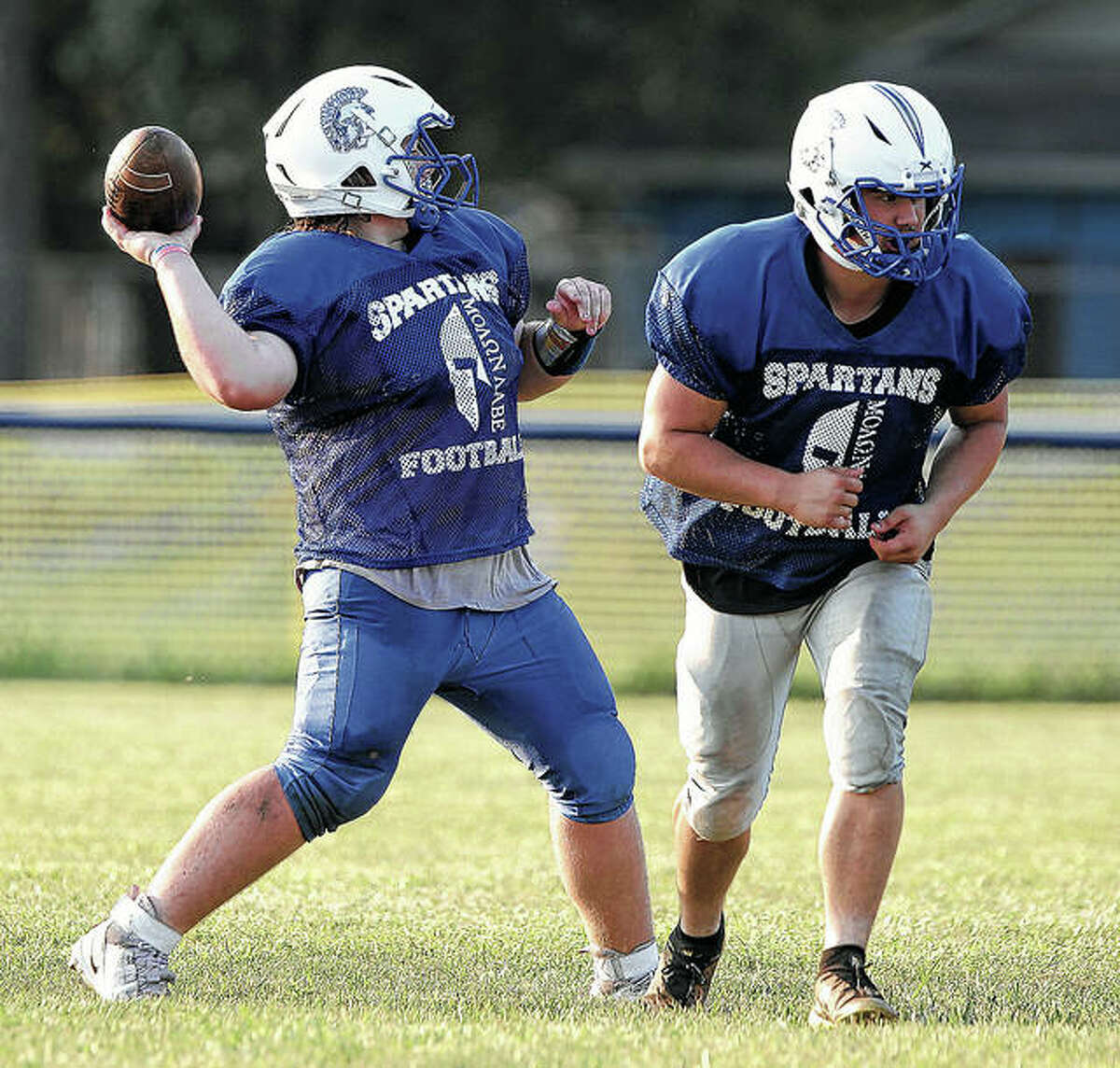 North Greene football players run a play during preseason practice session. The Spartans will open their season at home on Friday, Aug. 27 at 7 p.m. against Mendon Unity/Seymour.