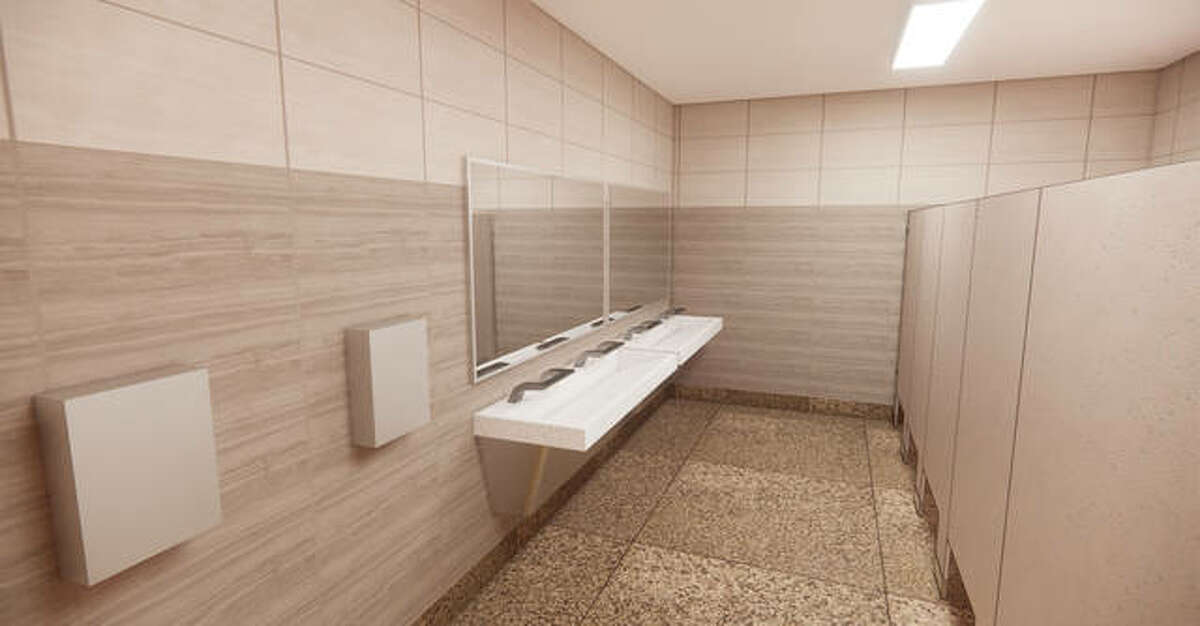 A rendering of the upgraded restrooms at Dorris Intermediate School that are part of the district's $20 million facilities upgrades.
