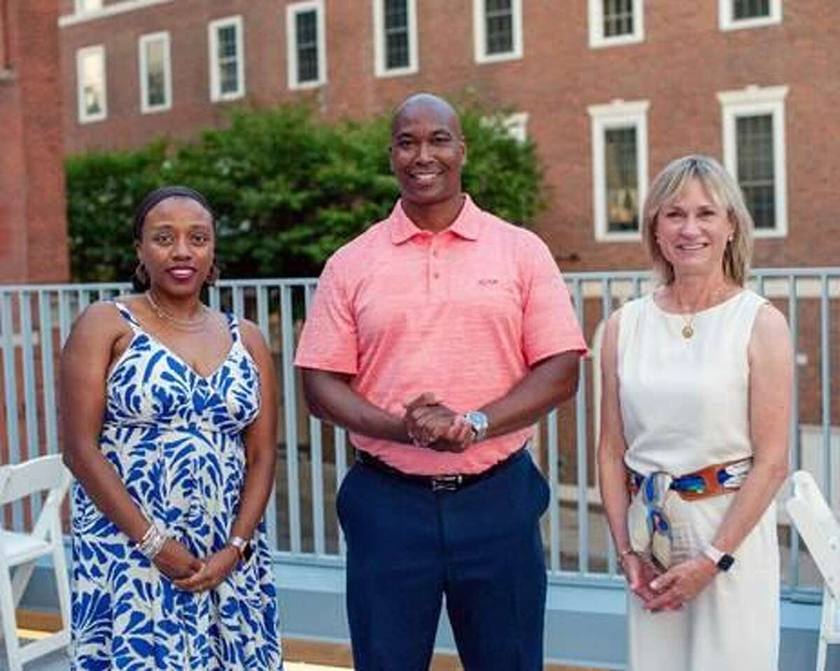 From left are Connecticut Community Foundation board members Saran White, Avery Gaddis and Jean Solomon. Not pictured is Tomas Olivo.
