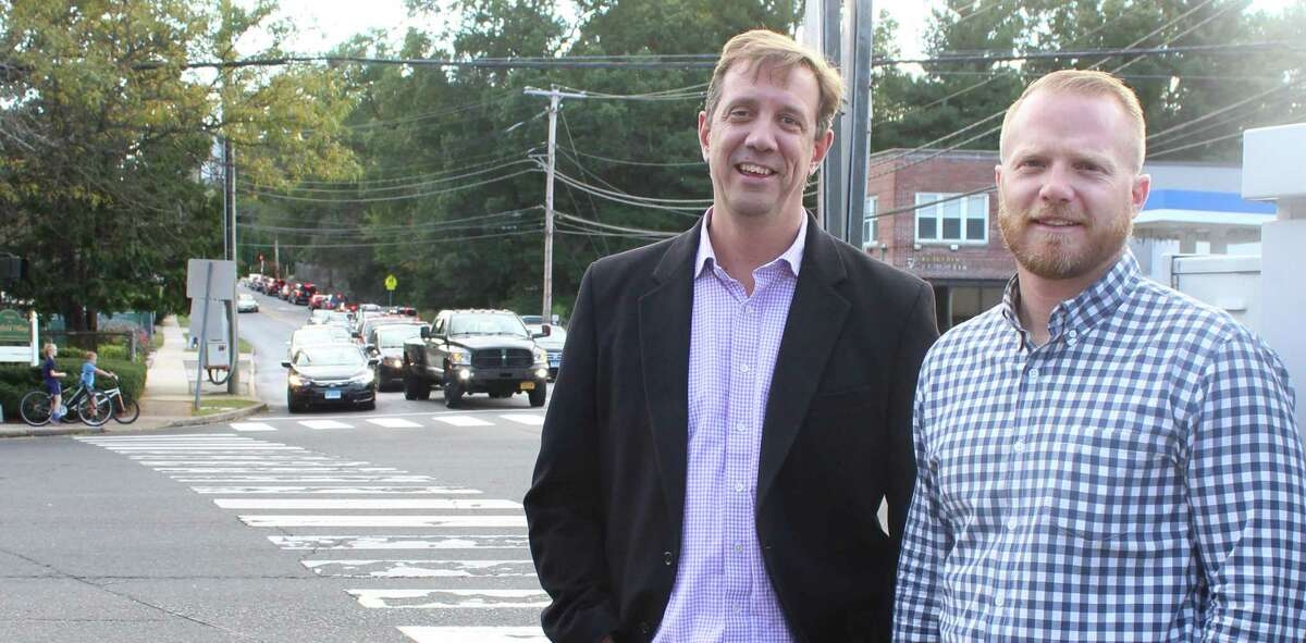 Jamie McCusker, left, and Dylan O'Connor, co-presidents of the Stratfield Village Association are excited about $650,000 in state money for streetscape improvements at the intersection of Fairfield Woods Road, and Route 59. Fairfield,CT. 10/3/18