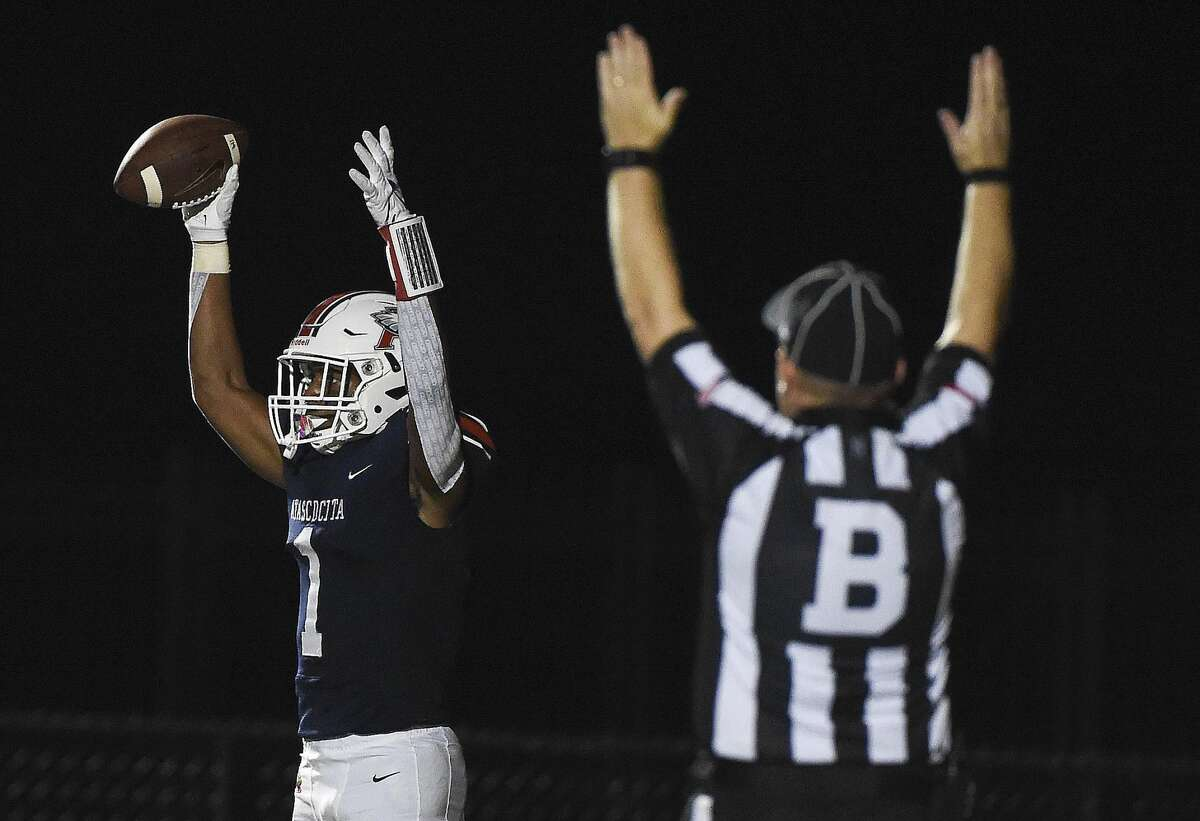 Atascocita wide receiver Chase Sowell (1) celebrates his touchdown during the first half of a high school football game against Klein Collins, Thursday, Aug. 26, 2021, in Humble.