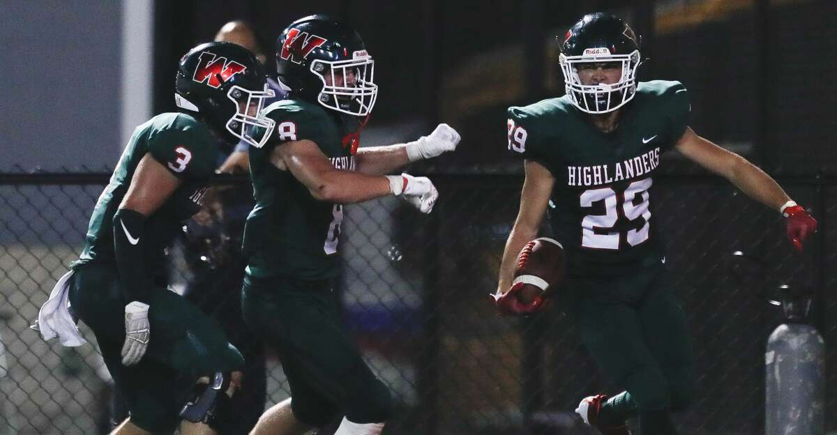 The Woodlands celebrates during the second quarter of a non-district high school football game at Woodforest Bank Stadium, Thursday, Aug. 26, 2021, in Shenandoah.