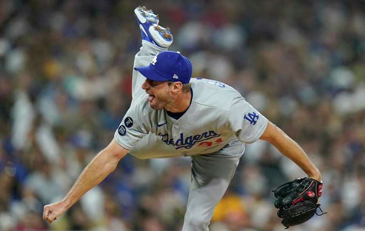 Dodgers starter Max Scherzer struck out 10 and combined with two relievers on a three-hitter.