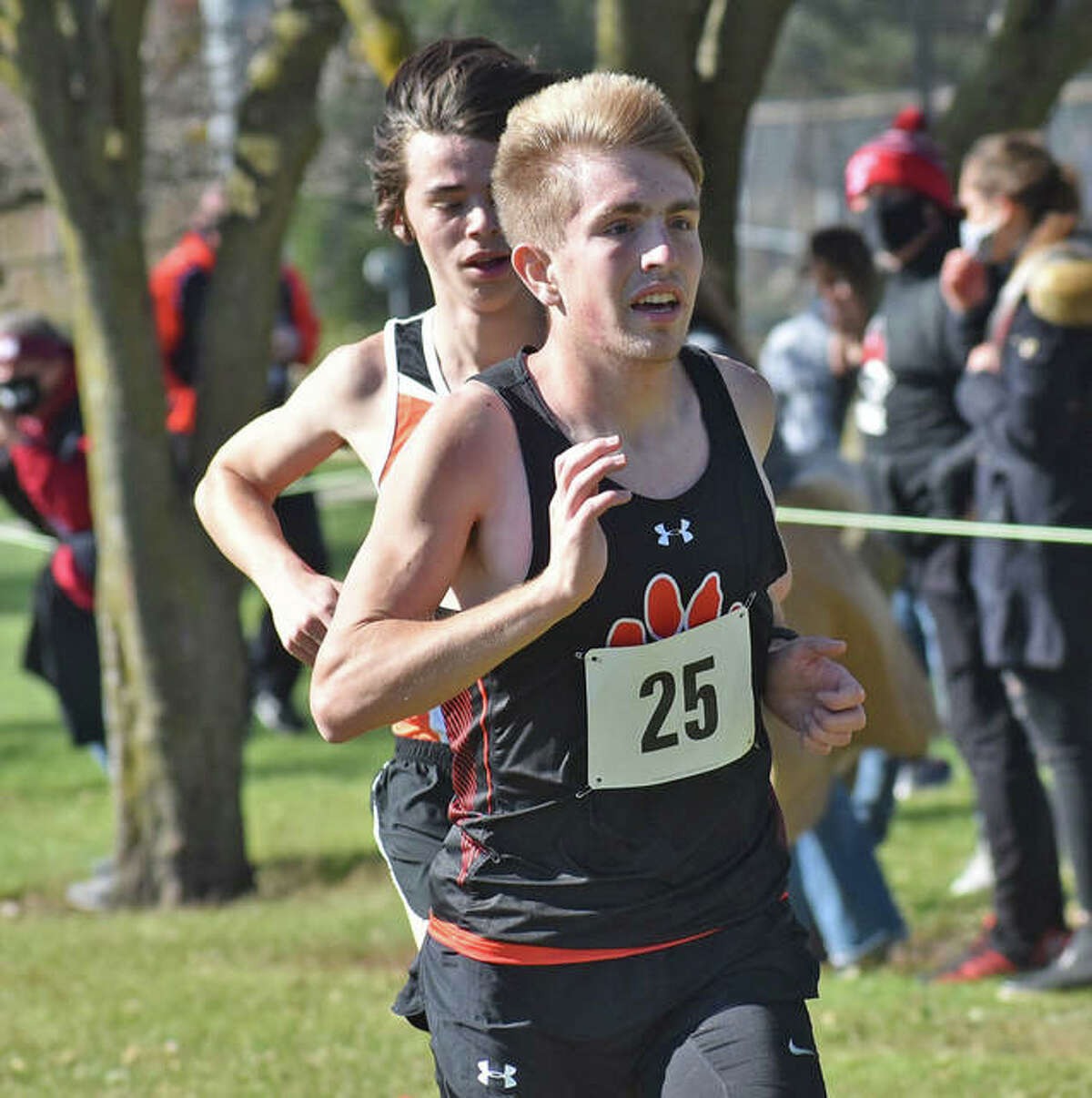 Edwardsville's Jacob Grandone competes at the Normal Community Sectional at Maxwell Park in Normal.