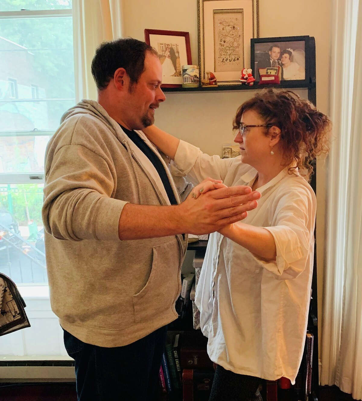 """Jeremy Buechner and Mary Darcy rehearse a scene for """"The Guys,"""" a play about 9/11 being produced Sept. 10 to 12 by Local Actors Guild of Saratoga at Schenectady Civic Playhouse."""