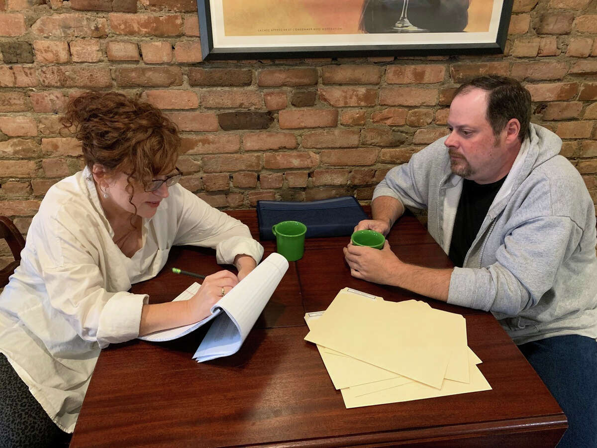 """Mary Darcy and Jeremy Buechnerrehearse a scene for """"The Guys,"""" a play about 9/11 being produced Sept. 10 to 12 by Local Actors Guild of Saratoga at Schenectady Civic Playhouse."""