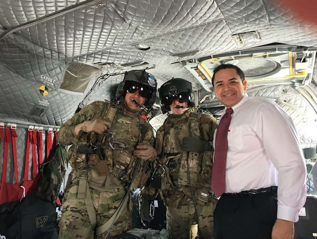 Rep. Henry Cuellar is pictured with soldiers during his visit to the Middle East in 2018.