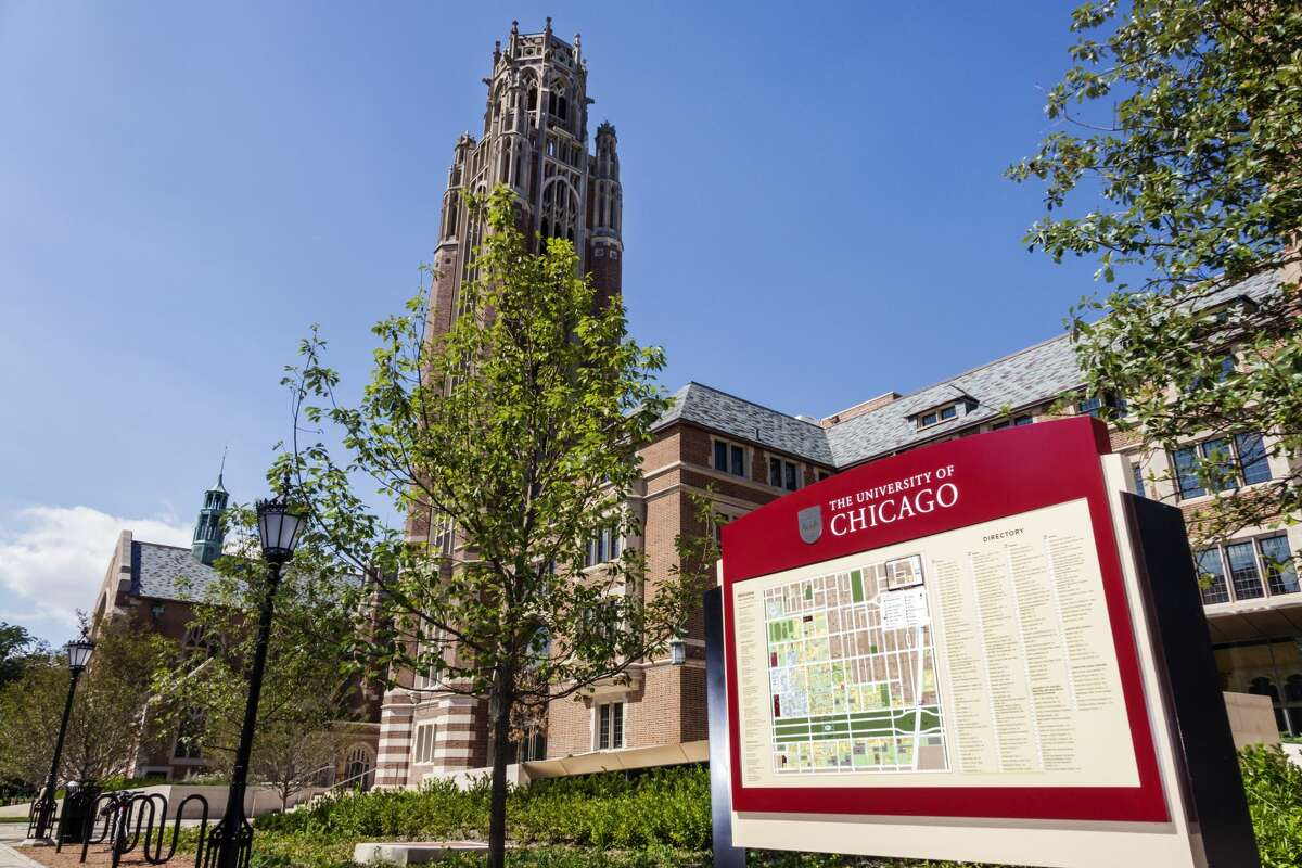 Hyde Park campus, University of Chicago map sign. (Photo by: Jeffrey Greenberg/Universal Images Group via Getty Images)