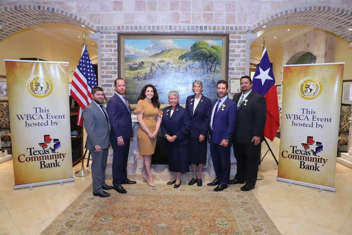 Pictured are Mr. South Texas Selection Committee Chairperson and WBCA Immediate Past President Bobby Perego, WBCA President-Elect Matt Gibson, WBCA President Natalie Hernandez, 2022 Mr. South Texas Honorees Sister Maria Luisa Vera and Sister Rosemary Welsh, WBCA 2nd Vice-President Fernando Montemayor, and WBCA Treasurer Jaime Fuentes.