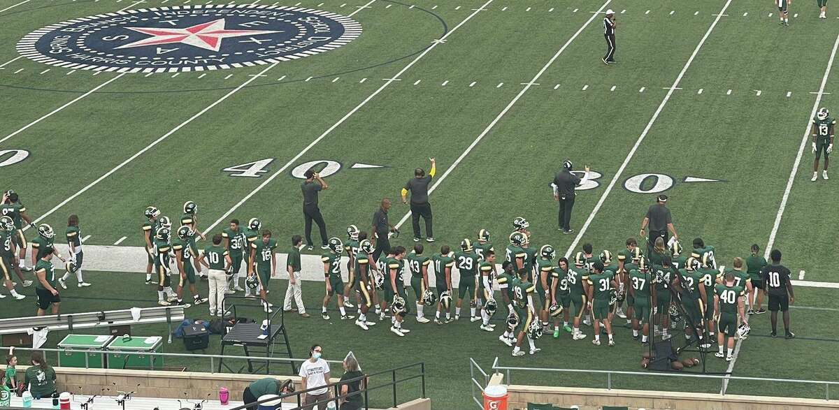 The Stratford High sidelines during the Spartans' 33-6 win over Alvin on Aug. 26 at Tully Stadium.