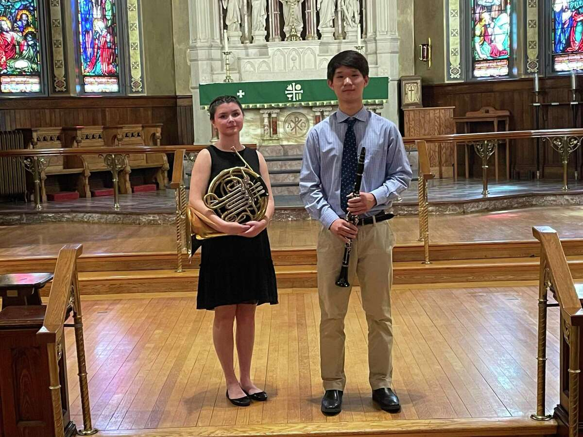 The Nutmeg Symphony Orchestra held its annual Young Artists Competition July 24, 2021 at Trinity Episcopal Church in Torrington. First prize was awarded horn player Amelia Caruk, who attends West Hartford's Hall High School. Second prize was awarded clarinetist Andy Dong who attends Farmington High School.