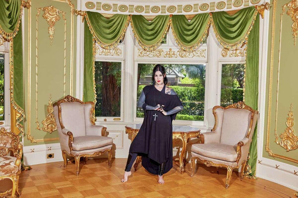Kat Von D at her sprawling Victorian mansion in Los Angeles on July 28.