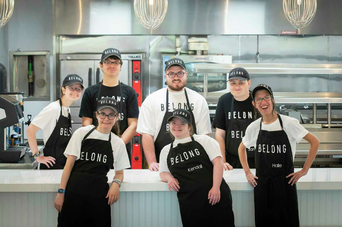The original seven Belong Kitchen employees are, back row from left, Ellie Brown, Sam Jones, John Pitner, Sam Adamson and, front row from left, Alden Faas, Kendall Tate, Halle Gibson and culinary program director Jennifer Cardenas.