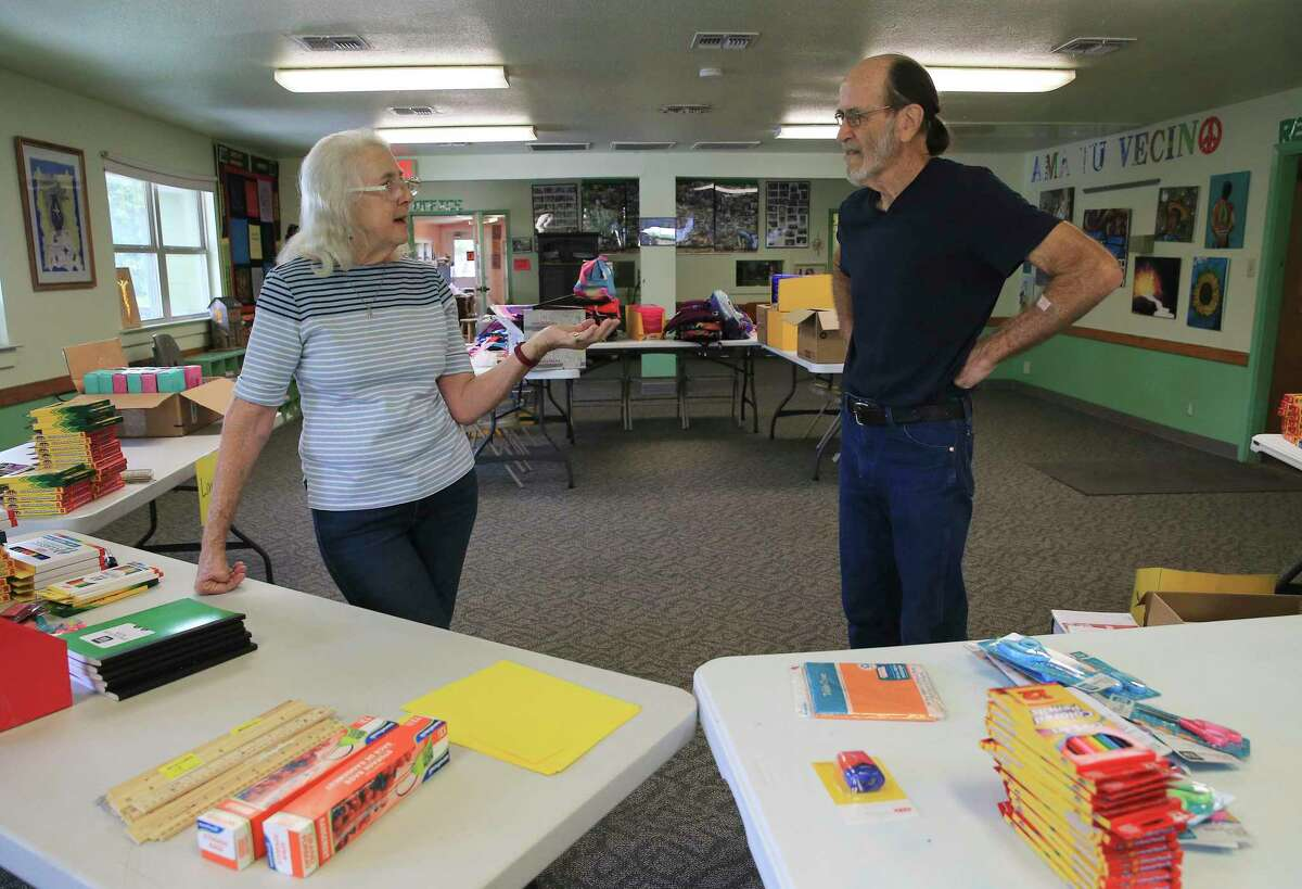 Rod and Patti Radle sort through a pile of donated school supplies on a recent Friday. Through work on affordable housing, elected office and directing volunteers at a West Side nonprofit group, the couple has been helping the underserved in San Antonio for more than 50 years.