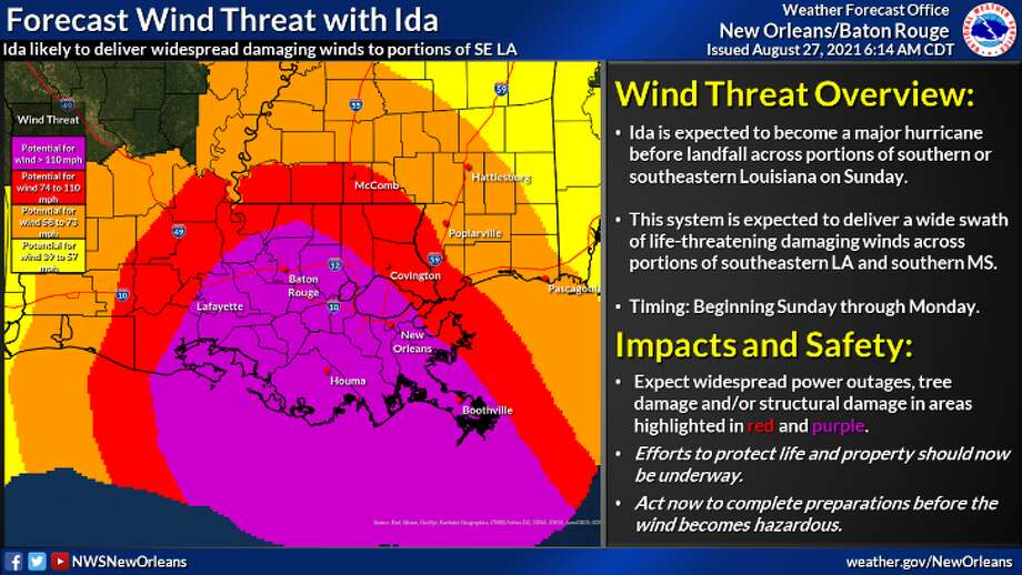 Many parts of southeast Louisiana, from Boothville to Baton Rouge, are under threat of severe, life-threatening winds. Photo: National Weather Service