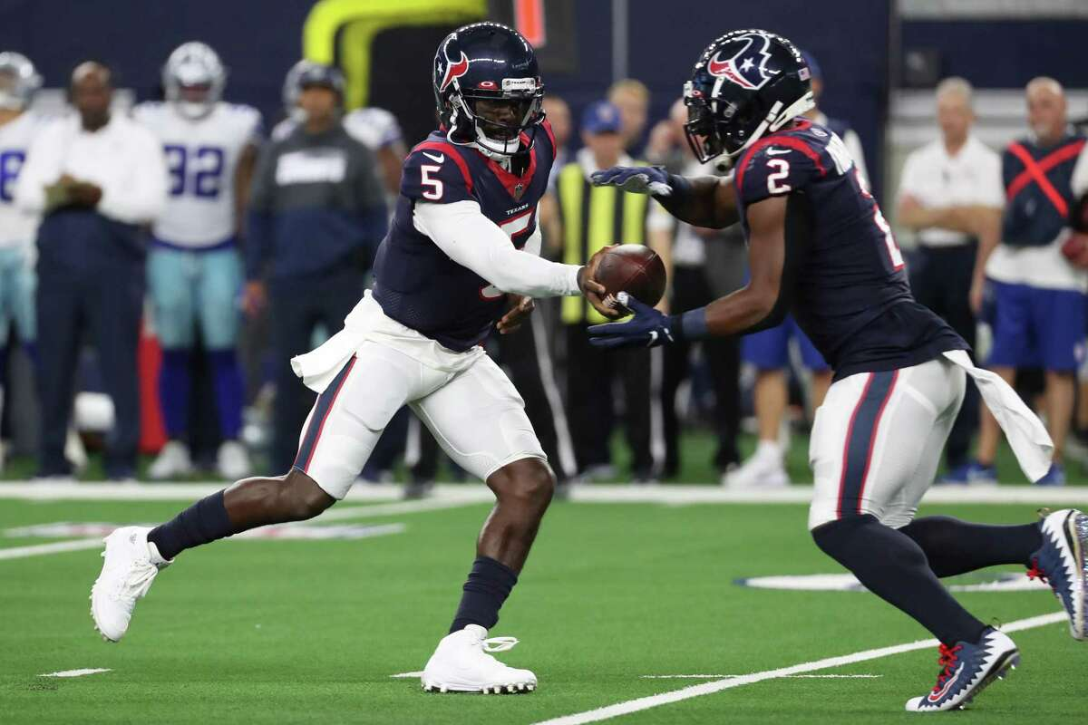 After limited action the past two weeks, quarterback Tyrod Taylor (5), running back Mark Ingram II and the rest of the Texans' first-team offense figure to get a longer look in Saturday's preseason finale against the Buccaneers at NRG Stadium.
