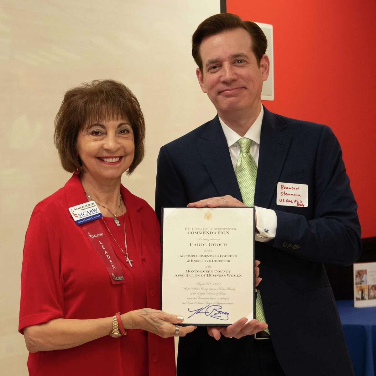 On Tuesday, the Montgomery County Association of Business Women celebrated their 16th birthday at Incredible Pizza in Conroe. Founder Carol Gooch is pictured with Brandon Steinmann from U.S. Rep. Kevin Brady's office. Brady presented a proclamation to Gooch.