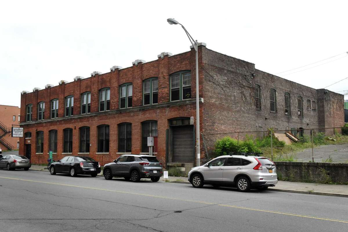 Exterior of the 558 River Street building where First Columbia has proposed locating a grocery store along with a second floor cafŽ on Friday, Aug. 27, 2021, in Troy, N.Y. Bargain Grocery of Utica would operate the store.