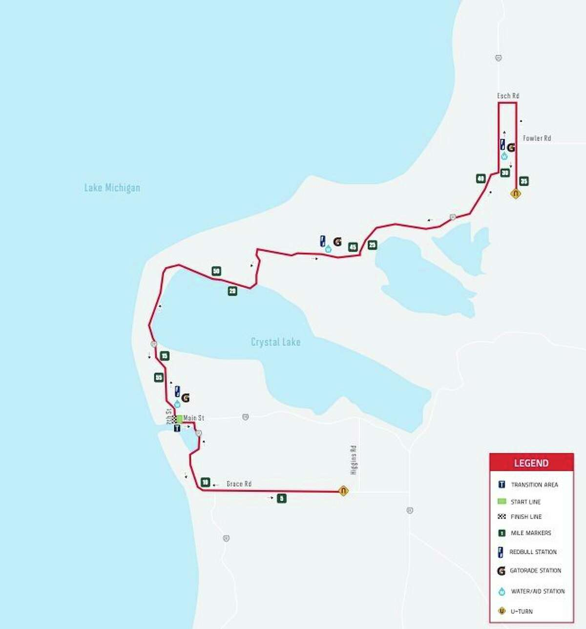 The Ironman cycling mainly takes place on M-22 from Little Platte Lake in the north down to south of Crystal Lake and Betsie Bay on Grace Road. (Courtesy map)
