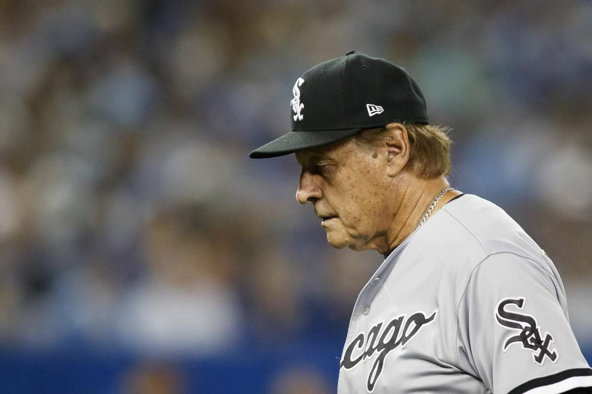 Tony La Russa of the Chicago White Sox walks back to the dugout in the eighth inning of the MLB game against the Toronto Blue Jays at Rogers Centre on August 24, 2021 in Toronto, Ontario. (Photo by Cole Burston/Getty Images)