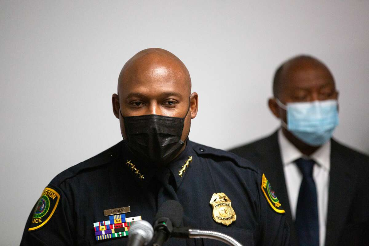 Houston Police Department Chief Troy Finner speaks during a press conference to provide updates on the investigation in the murder of off-duty New Orleans Police officer Everett Briscoe, Friday, Aug. 27, 2021, in Houston.