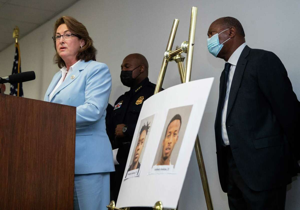 Harris County District Attorney Kim Ogg speaks during a press conference to provide updates on the arrest of Frederick Jackson and Anthony Jenkins who are allegedly connected to the murder of off-duty New Orleans Police officer Everett Briscoe, Friday, Aug. 27, 2021, in Houston.