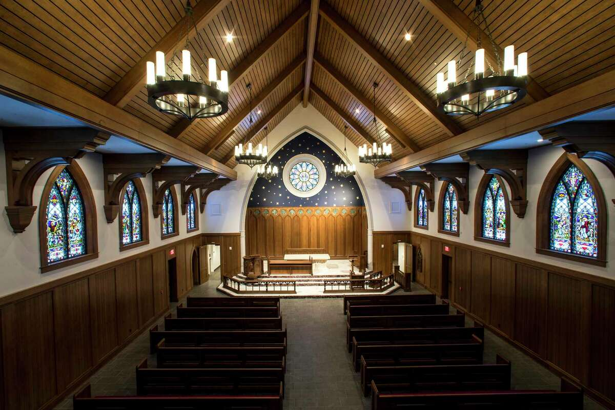 """Christ Chapel, also referred to as the """"Old Church,"""" was gutted and completely remodeled, including gaining new stained glass windows that line each side of the sanctuary."""