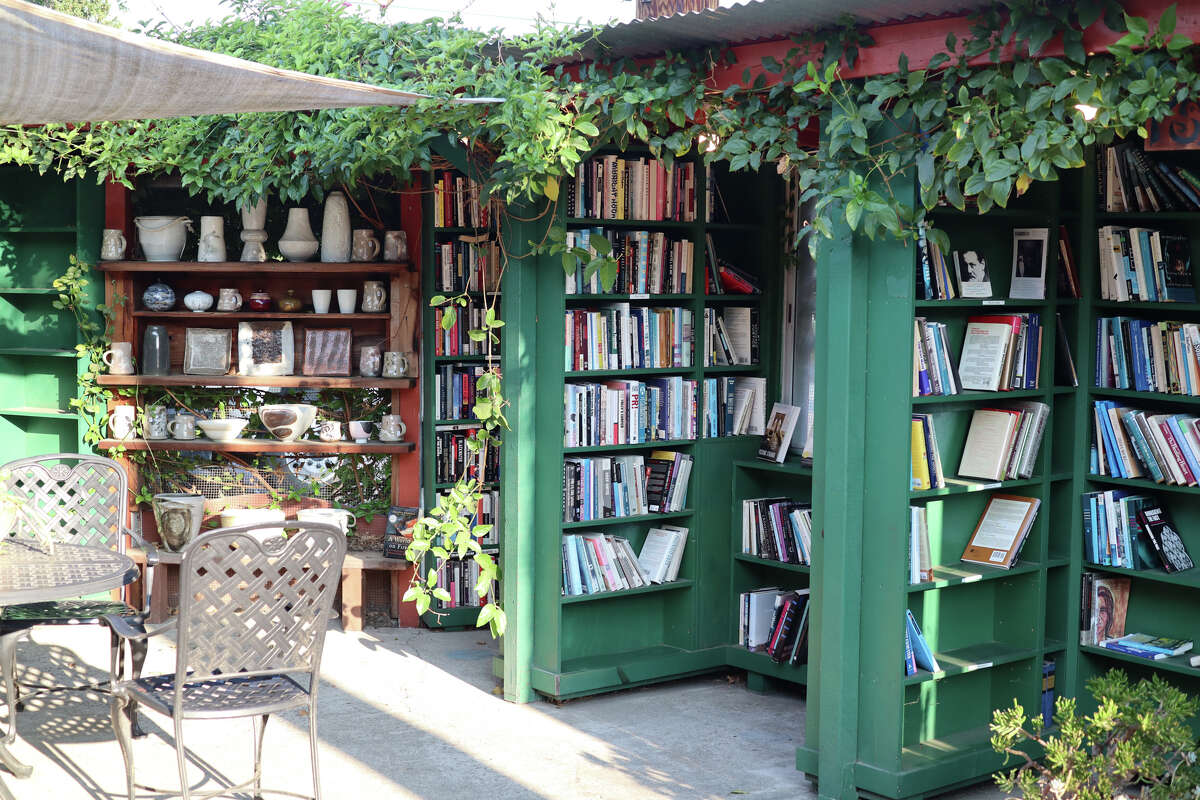 """The various """"rooms"""" of the outdoor bookstore have nooks for sitting and reading in the sunshine."""