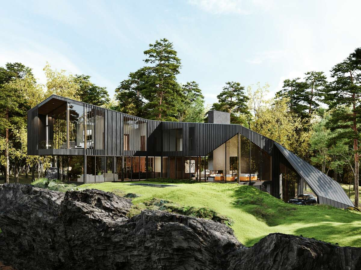 The modern Dutchess County property by the British luxury car maker's design studio comes with a main residence, guest pods and treehouse spread over 55 acres. The design mimics the rock formation that first attracted the architects to the land.