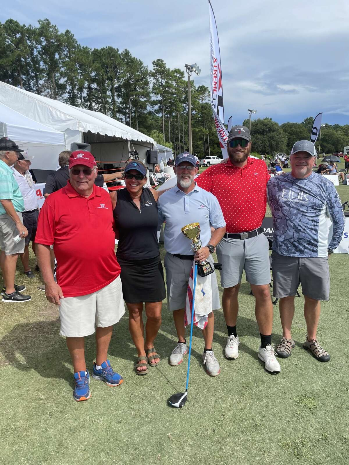 Left to right: Paul Ross, Bethany Merrill, Eric Ross, Reilly Merrill, and Tony Merrill all celebrate Reilly's fifth place finish at the Amateur Long Drive Nationals.