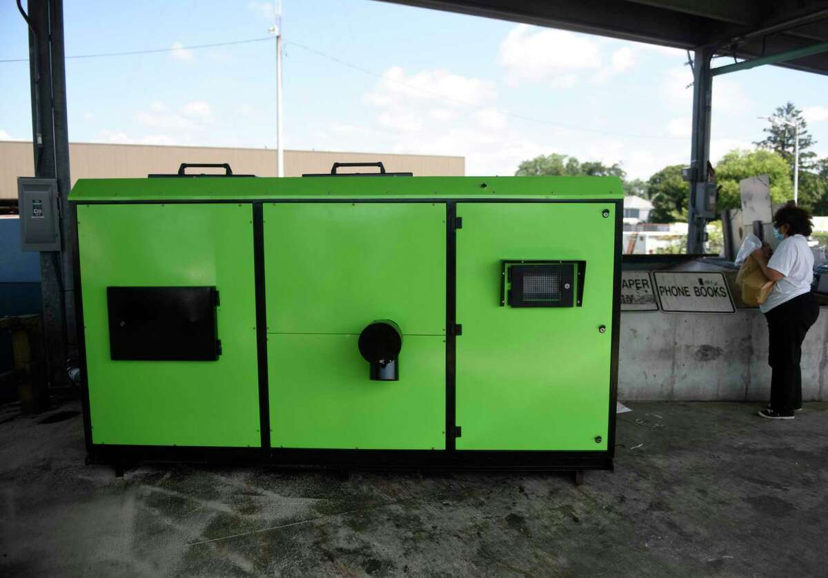 The new composting machine is nearly ready for usage at Katrina Mygatt Recycling Center in Stamford, Conn. Tuesday, Aug. 24, 2021. The new ER-500 composting machine processes up to 500 pounds of composted materials per day, five times more than the ER-100 that is being replacing.