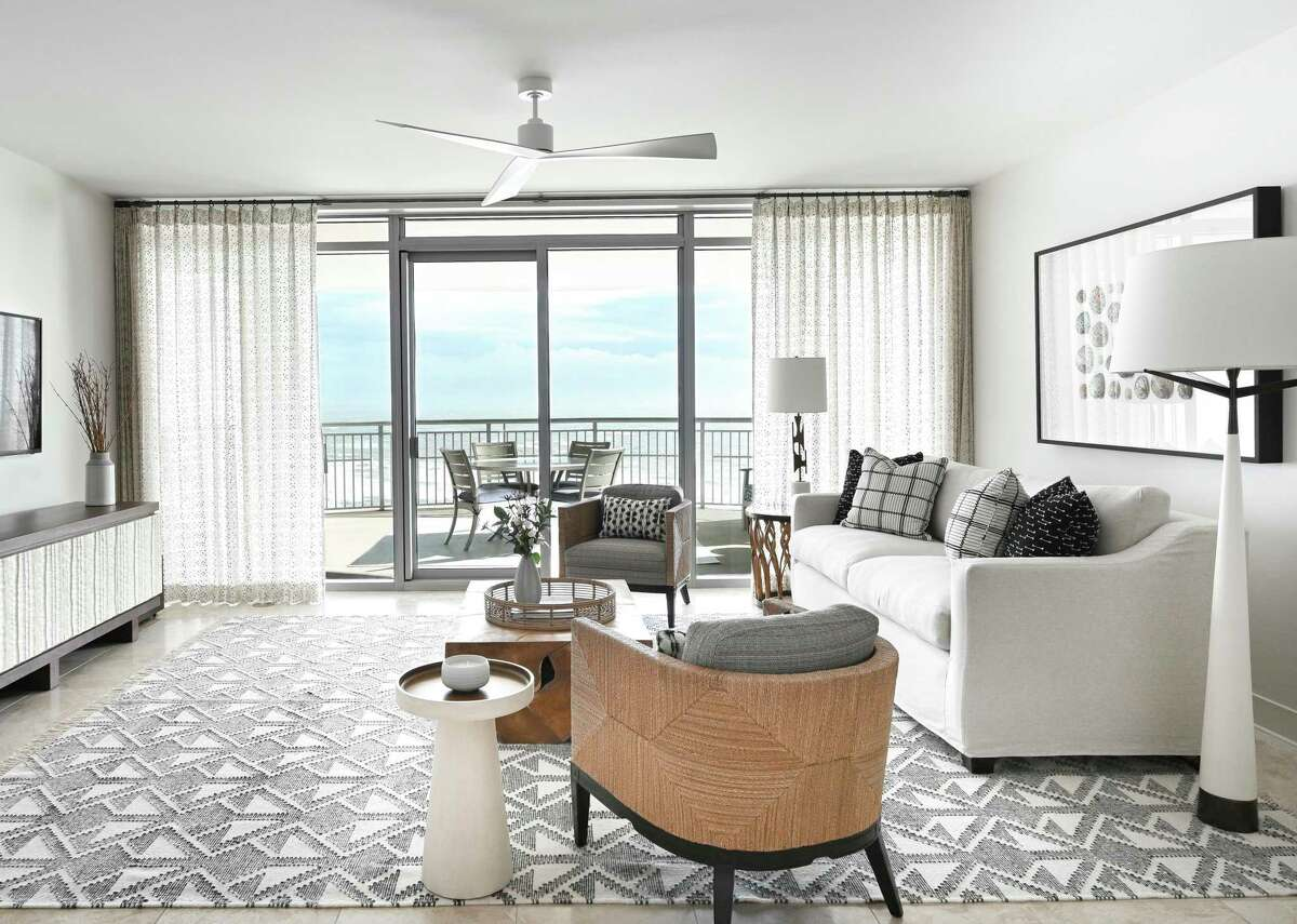 Neutral tones with plenty of texture dominate the main living area.