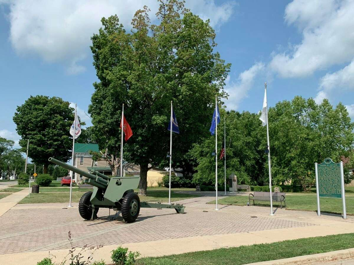 Guyton Park in Evart may soon be home to a new Korean War Veterans Memorial monument. A dedication is tentatively planned for Memorial Day 2022. (Herald Review photo/Cathie Crew)
