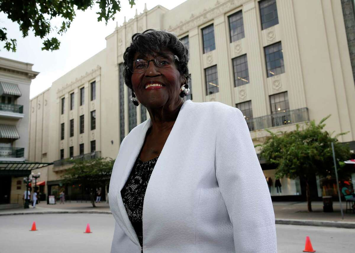 Dorothy Price Collins, 89, stands in front of the Joske's Building on Friday. Collins, who retired in 1995, was a longtime educator who was among the first Black school teachers who participated in faculty integration in Texas schools in the early 1960s. She also participated in the 1960 demonstrations at Joske's, which initially continued to refuse to serve African Americans in two of its restaurants, the Camellia Room and the Chuck Wagon, after seven downtown lunch counters had voluntarily desegregated in March 1960. Joske's desegregated the restaurants by late summer 1960s. Now, 61 years later, Collins supports interpretation of the civil rights movement, as well as an honest portrayal of the role of slavery in early Texas, as part of the planned nearly $400 million makeover of the Alamo.