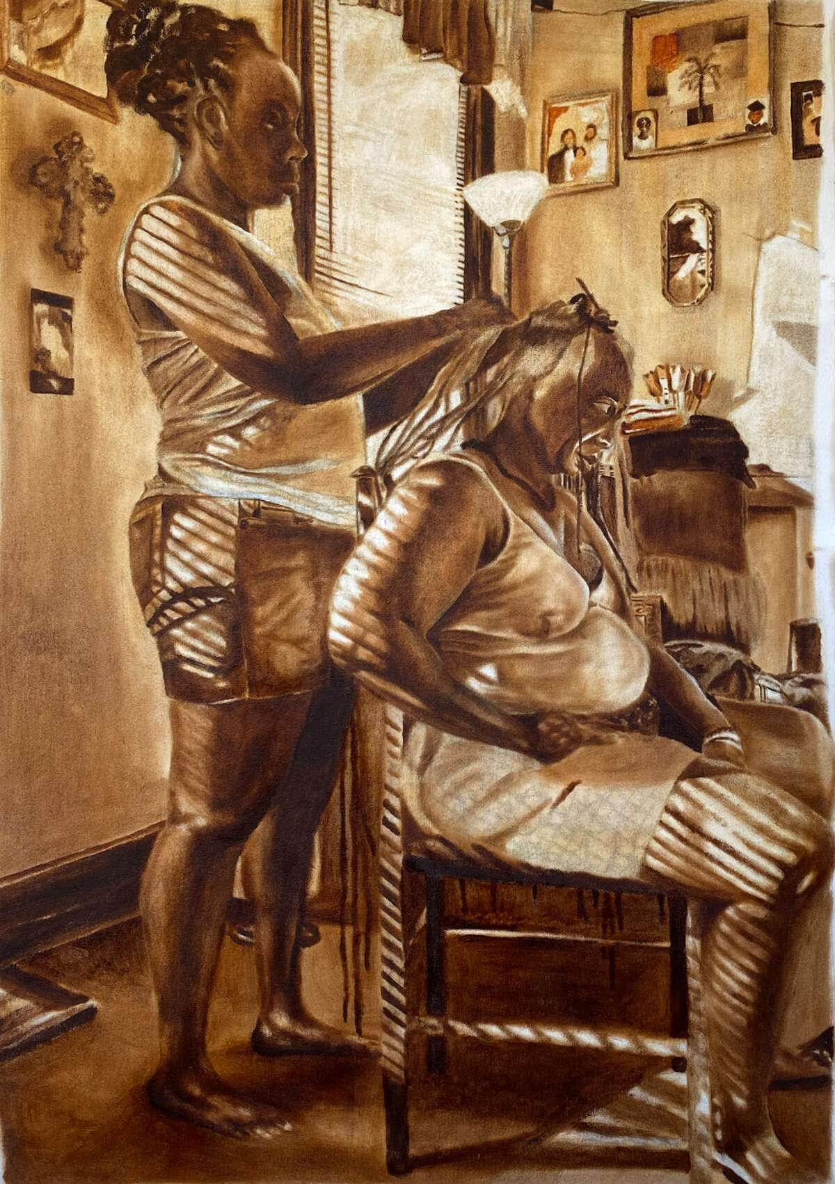 """Jahniah Kum, """"Mothers before me,"""" 2020, oil and quilting on canvas, on view at Albany Center Gallery."""