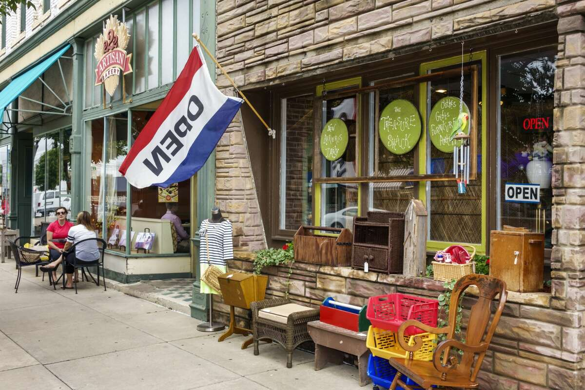 Small town store front on Main street in Edwardsville. (Photo by: Jeffrey Greenberg/Universal Images Group via Getty Images)