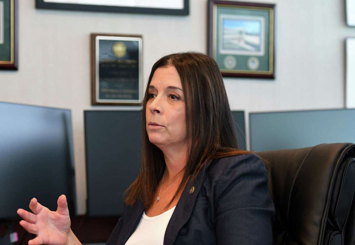Janeen DiGuiseppi, Federal Bureau of Investigations Special Agent in Charge of the Albany Field Office, is interviewed on Friday, Aug. 27, 2021, at her office in Albany, N.Y. She is the first woman ever to permanently run the Albany office.
