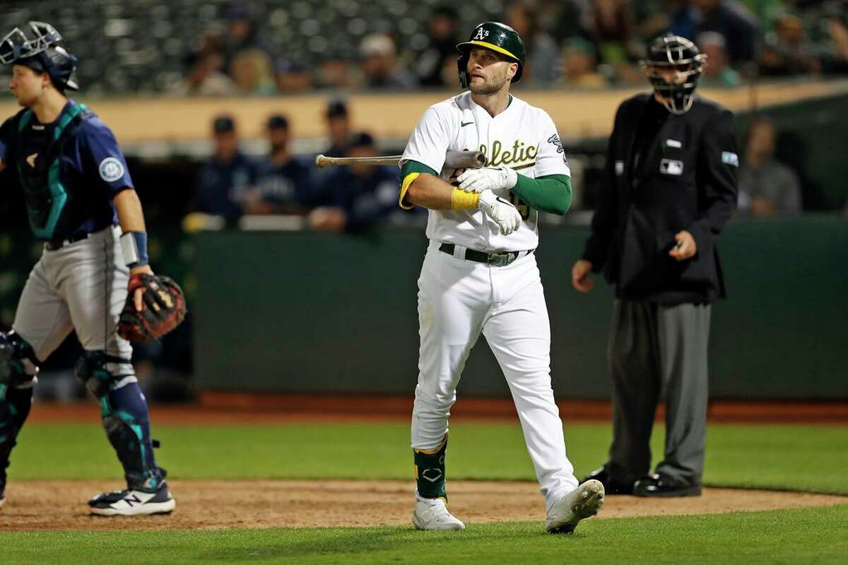A's outfielder Seth Brown has shuttled between the majors and minors this season.