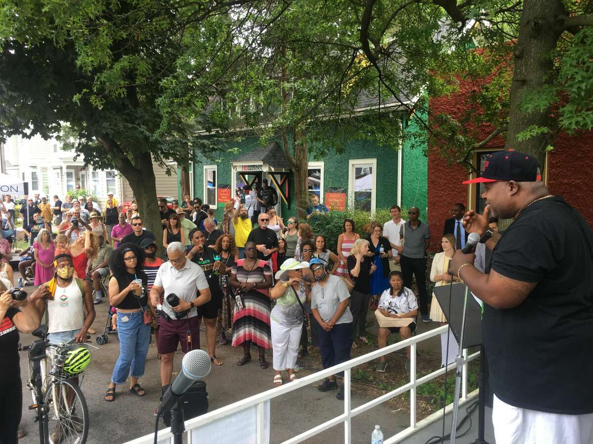 Harambee Kingston co-founder Tyrone Wilson speaks to the community at this year's Juneteenth Festival held at the Pine Street African Burial Ground in Kingston.