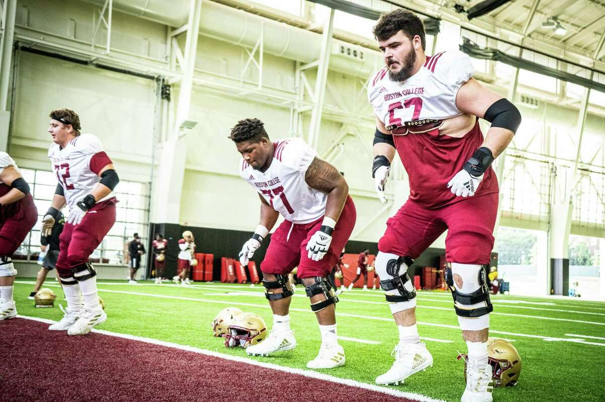 New Canaan's Jack Conley (67) takes part in a preseason practice with the Boston College football team in 2020.