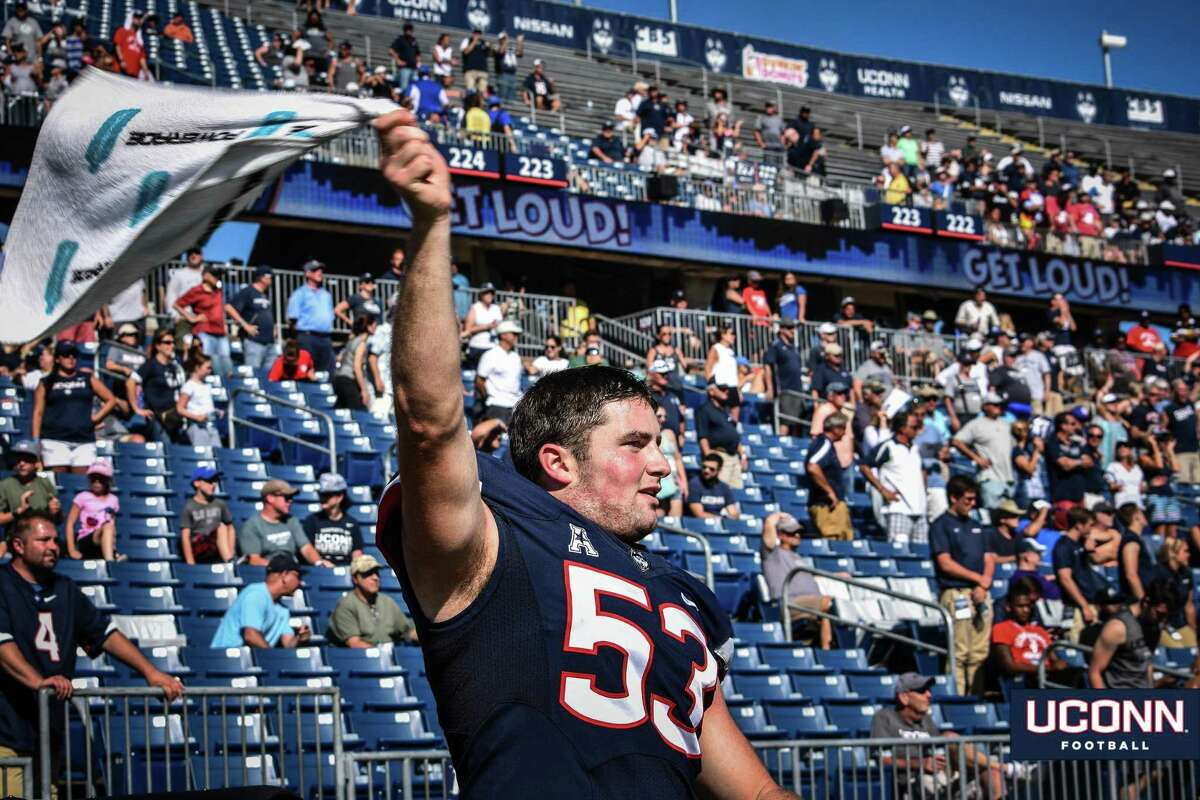 UConn long snapper, Brian Keating, a Darien native, shown during a game in 2018.